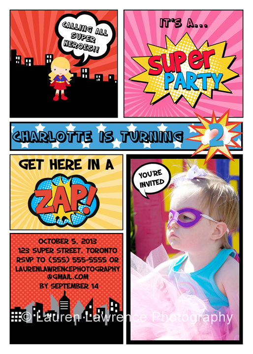superhero comic book girl birthday party invitation by lauren lawrence photography - Superhero Birthday Party Invitations